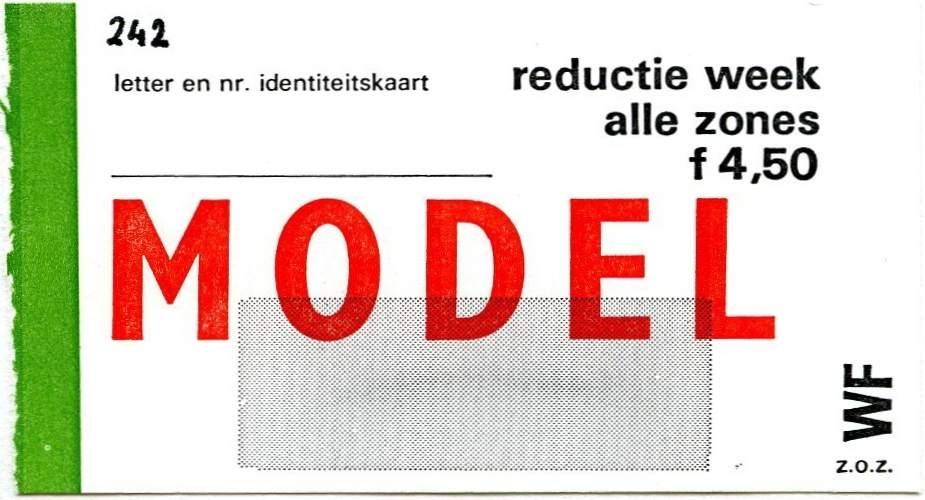 RET 1977 weekkaart alle zones reductie 4,50 -a