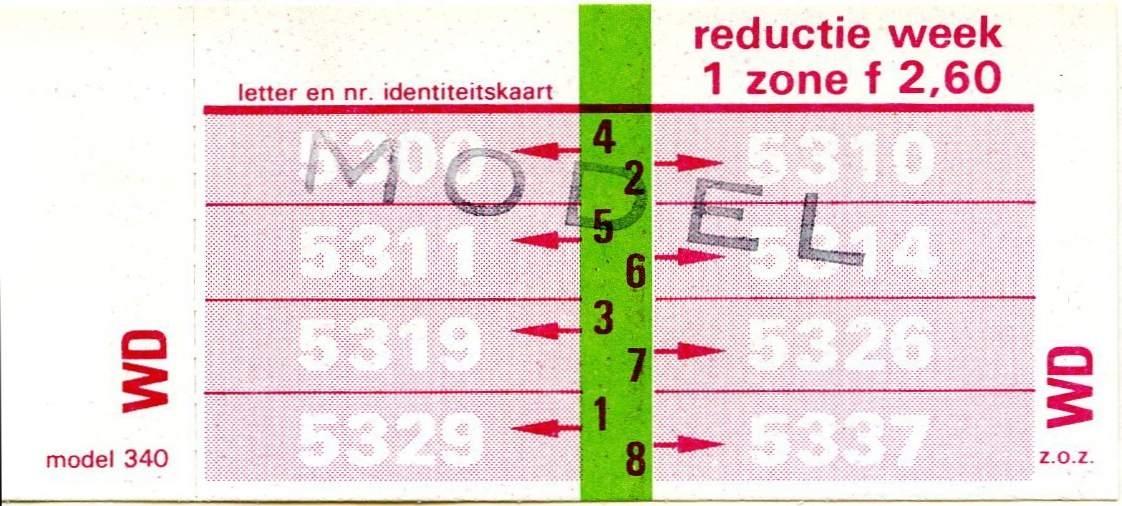 RET 1977 weekkaart reductie 1 zone 2,60 (340) -a