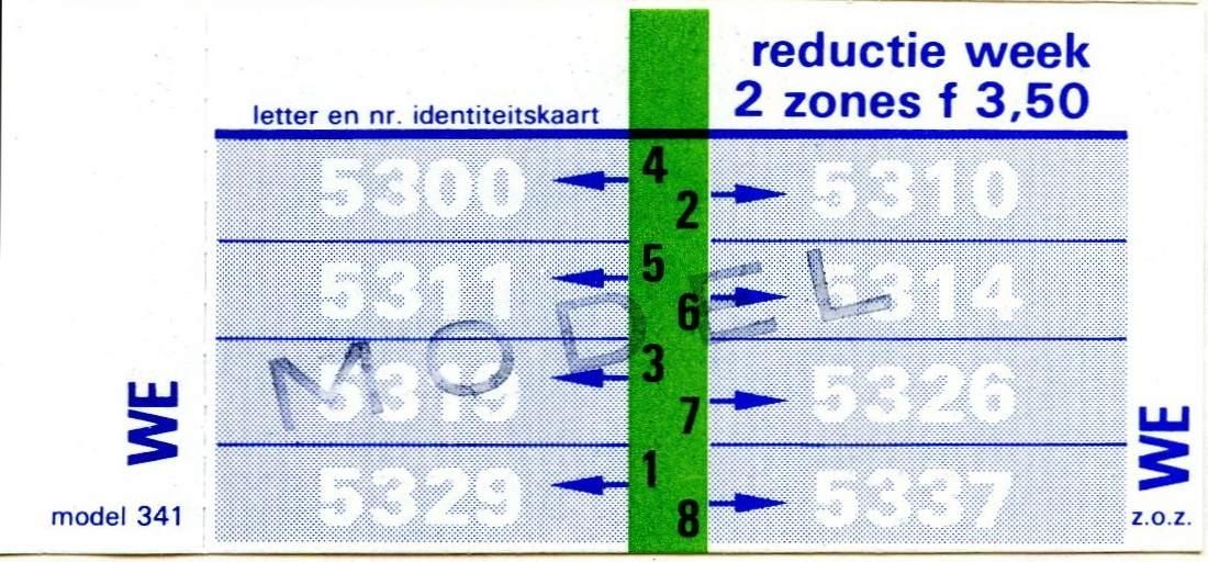 RET 1977 weekkaart reductie 2 zones 3,50 (341) -a