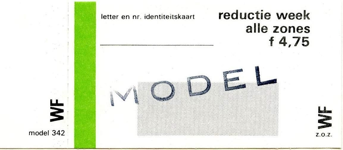RET 1977 weekkaart reductie alle zones 4,75 (342) -a