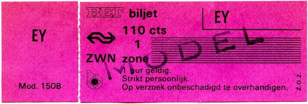 RET 1978 1 zone biljet 110 cts (150B) -a
