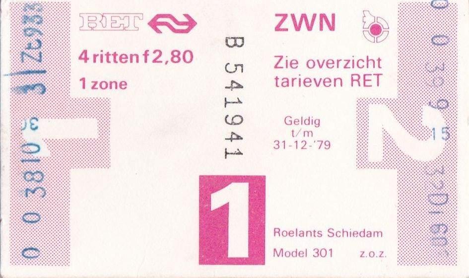 RET 1978 4 rittenkaart 1 zone 2,80 (301) -a