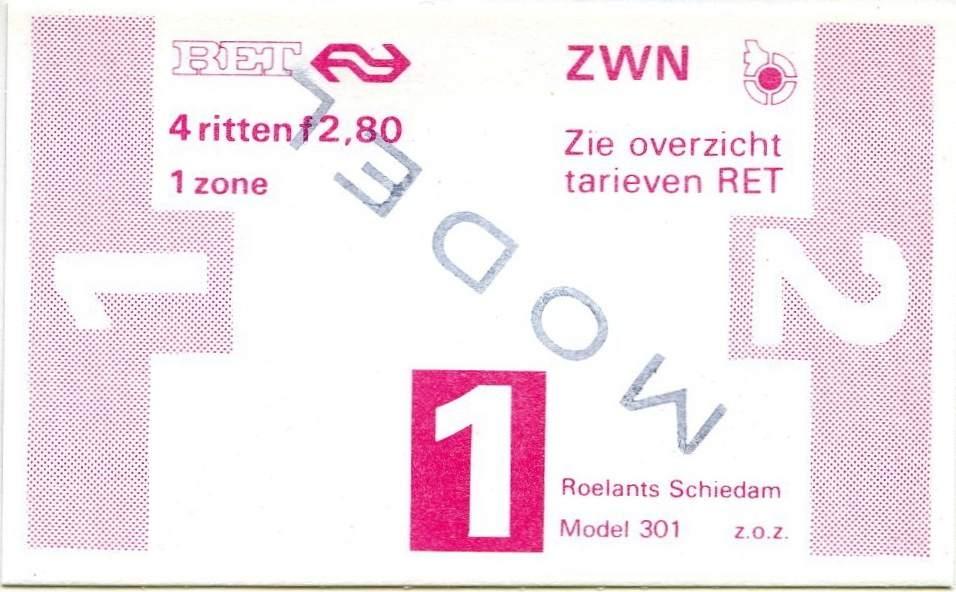 RET 1978 4-rittenkaart 1 zone 2,80 (301) -a