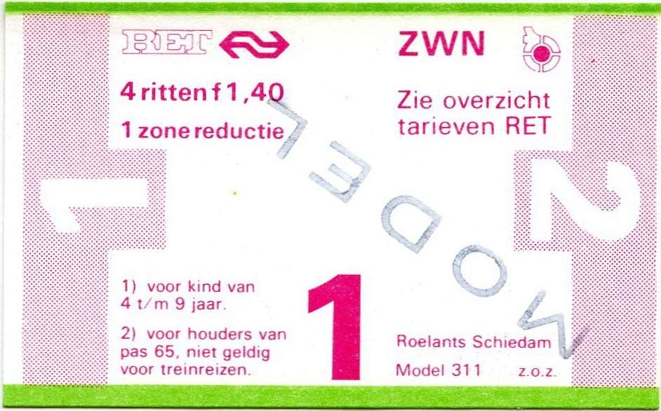 RET 1978 4-rittenkaart 1 zone reductie 1,40 (311) -a