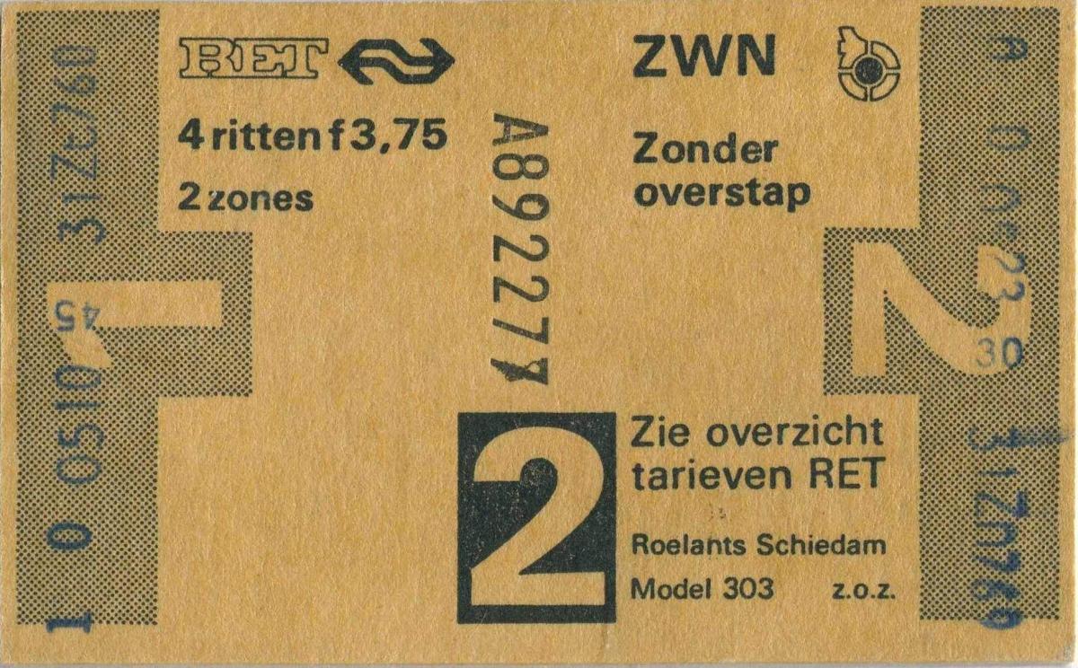 RET 1978 4 rittenkaart 2 zones 3,75 (303) -a