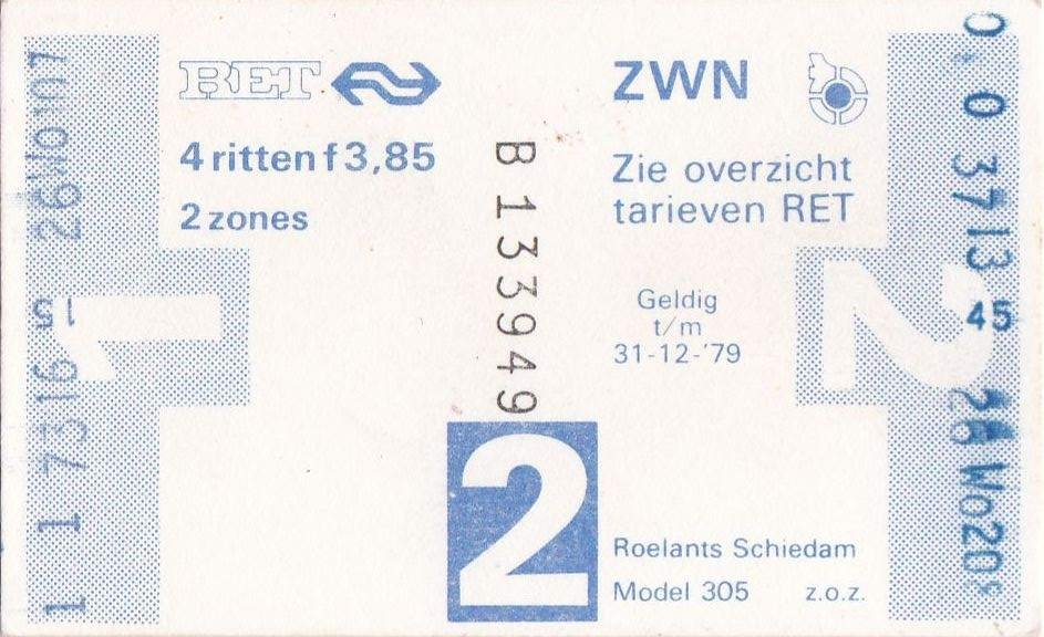RET 1978 4 rittenkaart 2 zones 3,85 (305) -a