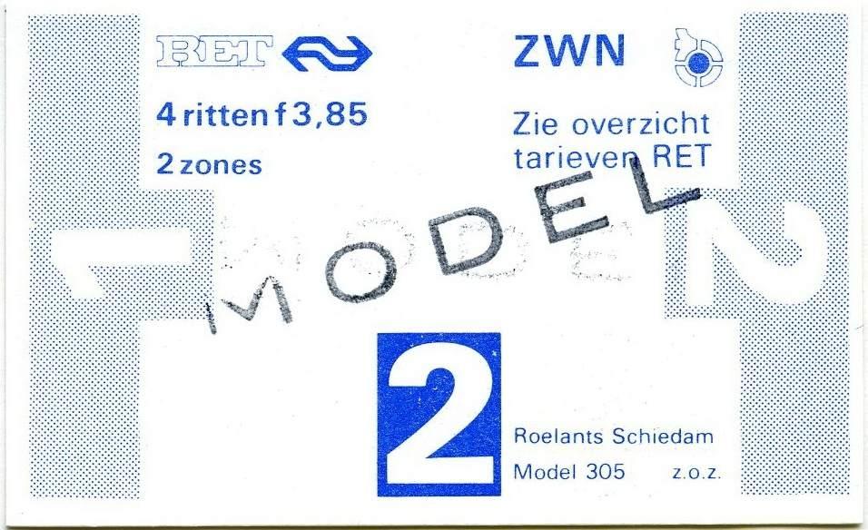 RET 1978 4-rittenkaart 2 zones 3,85 (305) -a