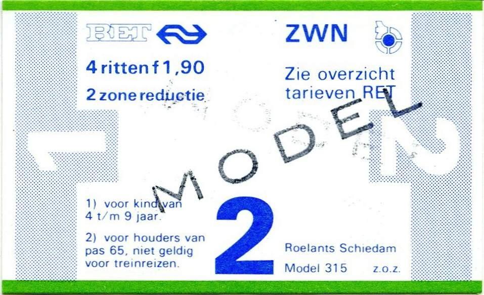RET 1978 4-rittenkaart 2 zones reductie 1,90 (315) -a