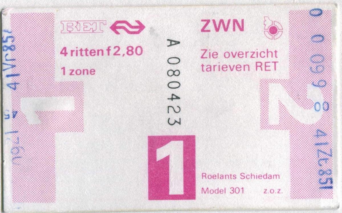 RET 1978 4-rittenkaart 2,80 (301-) -a