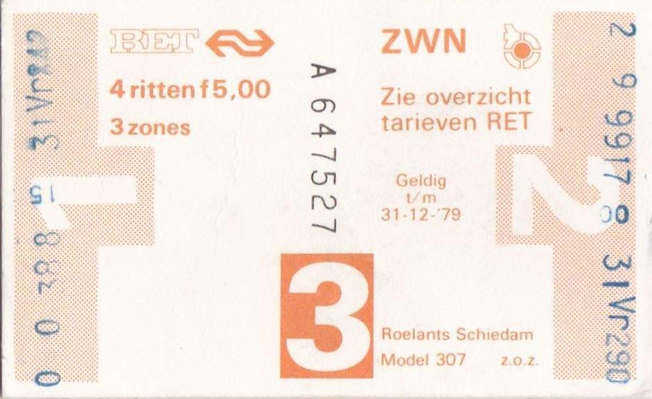 RET 1978 4 rittenkaart 3 zones 5,00 (307) -a