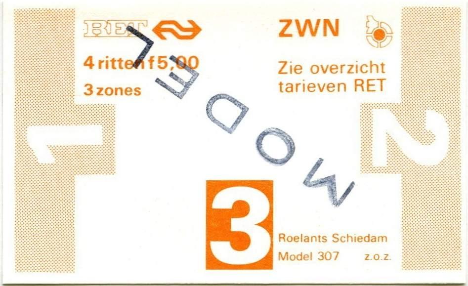 RET 1978 4-rittenkaart 3 zones 5,00 (307) -a