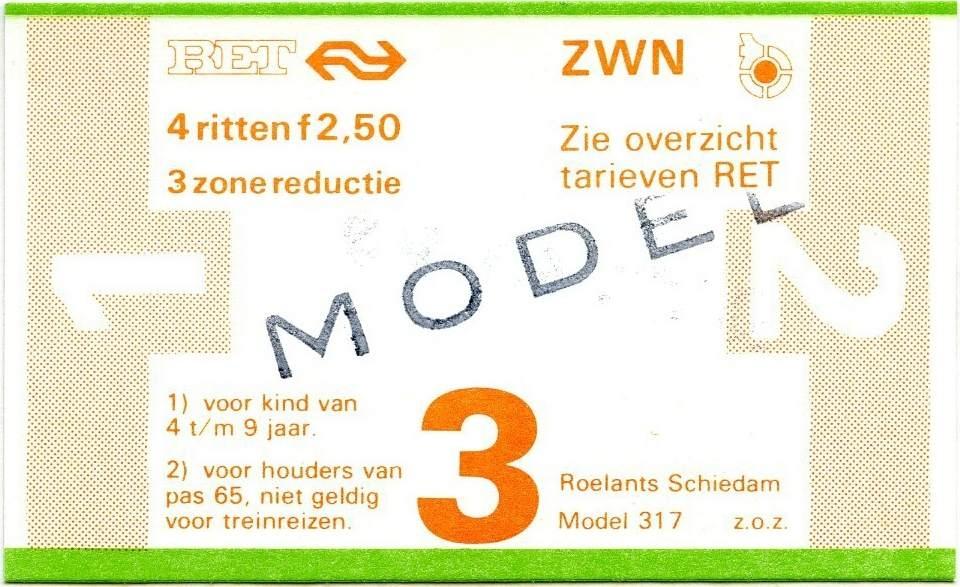 RET 1978 4-rittenkaart 3 zones reductie 2,50 (317) -a