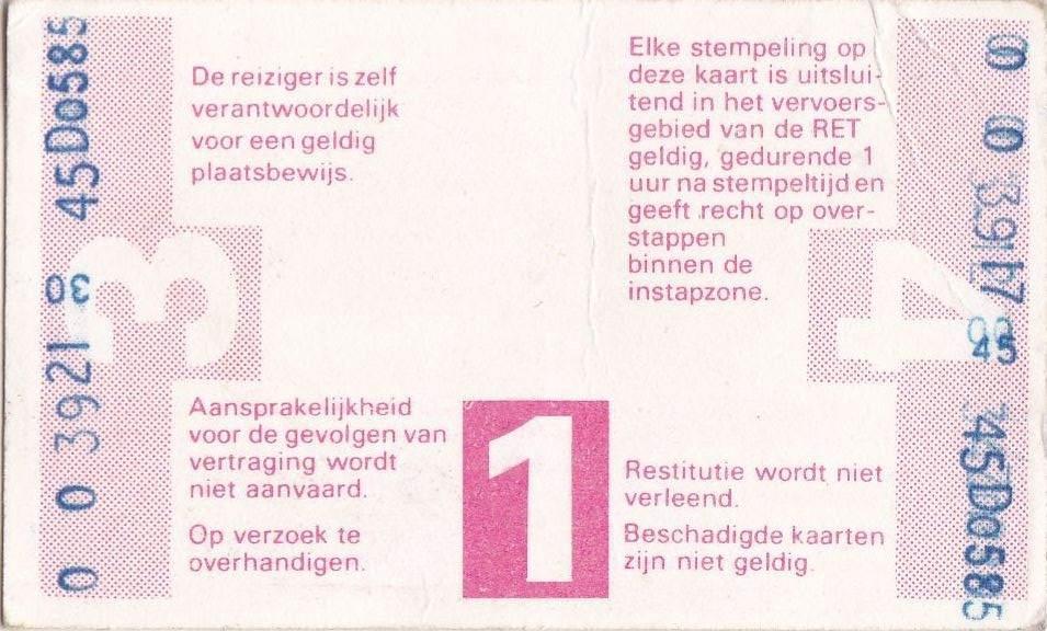 RET 1978 4-rittenkaart achterzijde 2,80 (301) -a
