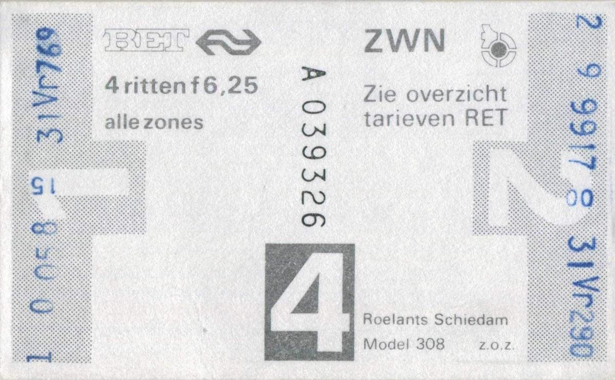 RET 1978 4-rittenkaart alle zones 6,25 (308) -a