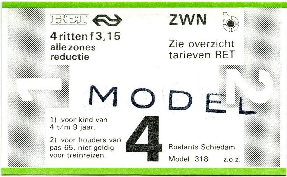 RET 1978 4-rittenkaart alle zones reductie 3,15 (318) -a