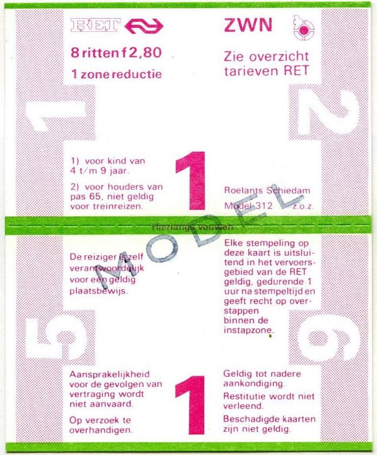 RET 1978 8-rittenkaart 1 zone reductie 2,80 (312) -a