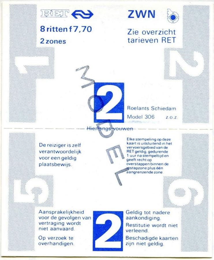 RET 1978 8-rittenkaart 2 zones 7,70 (306) -a