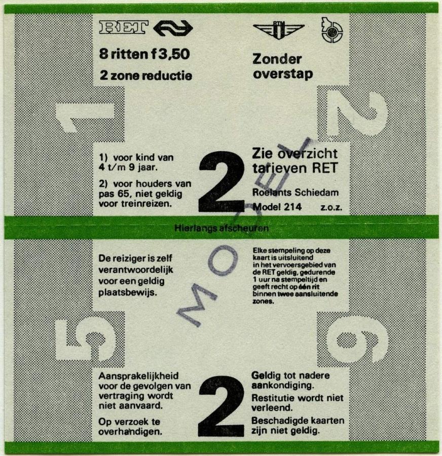 RET 1978 8 rittenkaart 2-zones reductie 3,50 (214) -a