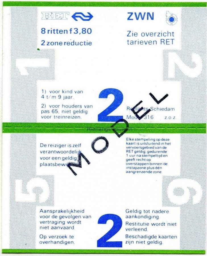 RET 1978 8-rittenkaart 2 zones reductie 3,80 (316) -a