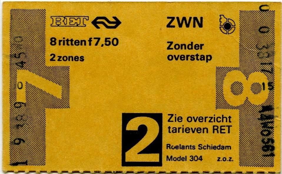RET 1978 8 rittenkaart 2 zones zonder overstap 7,50 (304) -a