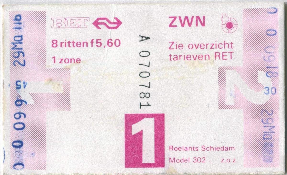 RET 1978 8-rittenkaart 5,60 (302) -a