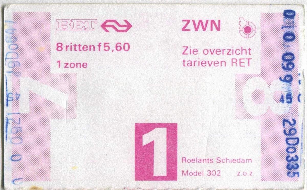 RET 1978 8-rittenkaart 5,60 (302-) -a