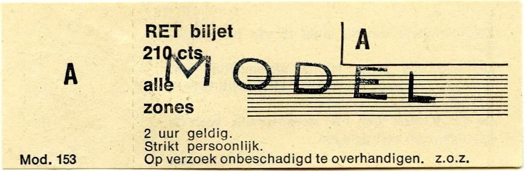 RET 1978 alle zones biljet 210 cts (153) -a