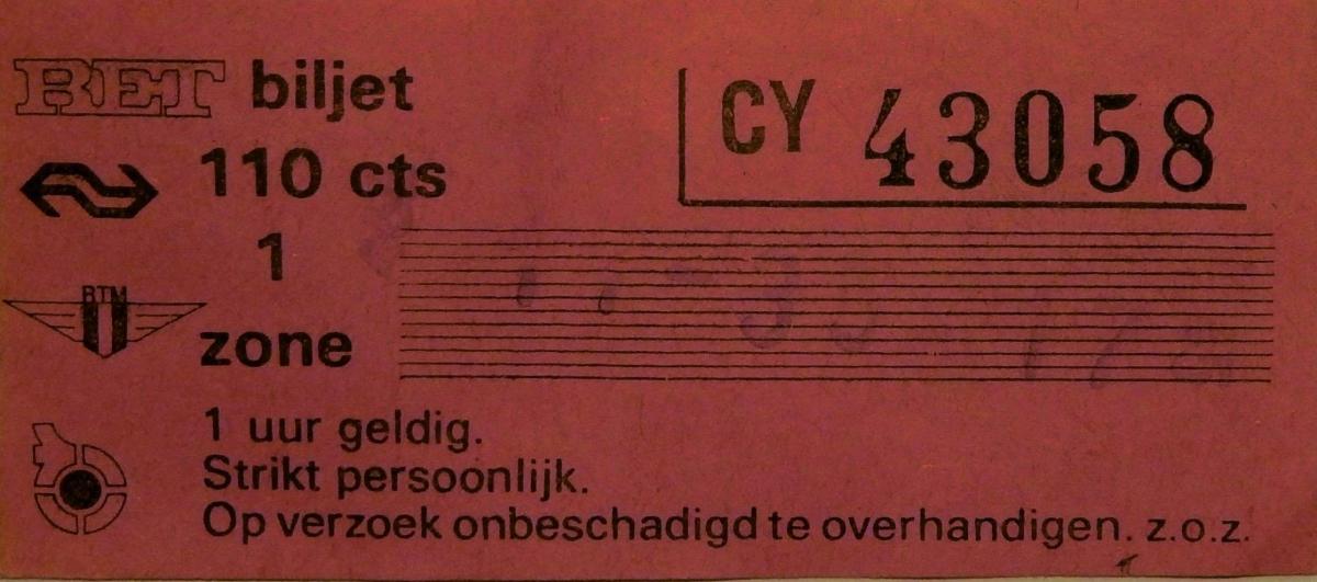 RET 1978 biljet 110 cts 1 zone combi (150B) -a