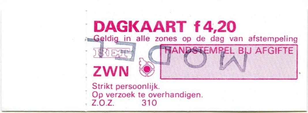 RET 1978 dagkaart alle zones 4,20 wagenverkoop (310) -a