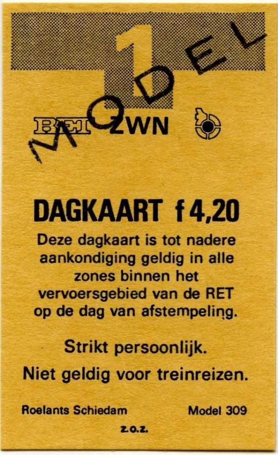 RET 1978 dagkaart gehele vervoersgebied RET 4,20 voorverkoop (309) -a
