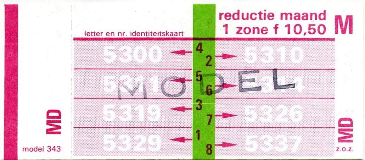 RET 1978 maandkaart 1 zone reductie 10,50 (343) -a