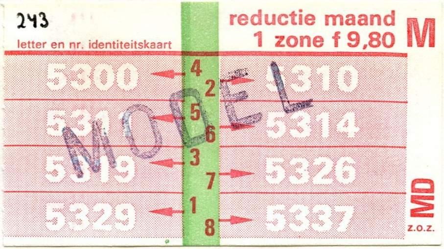 RET 1978 maandkaart 1 zone reductie 9,80 -a
