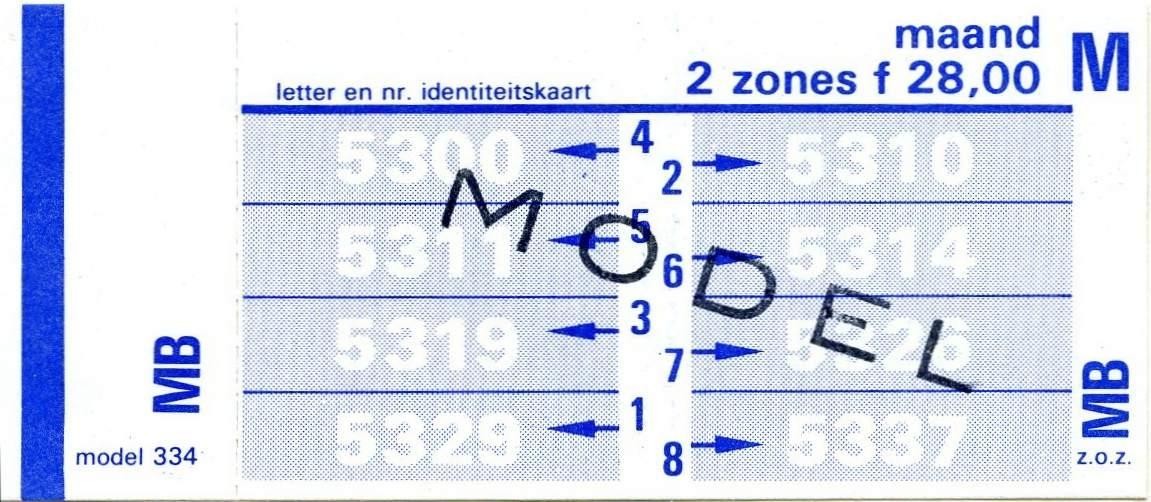 RET 1978 maandkaart 2 zones 28,00 (334) -a