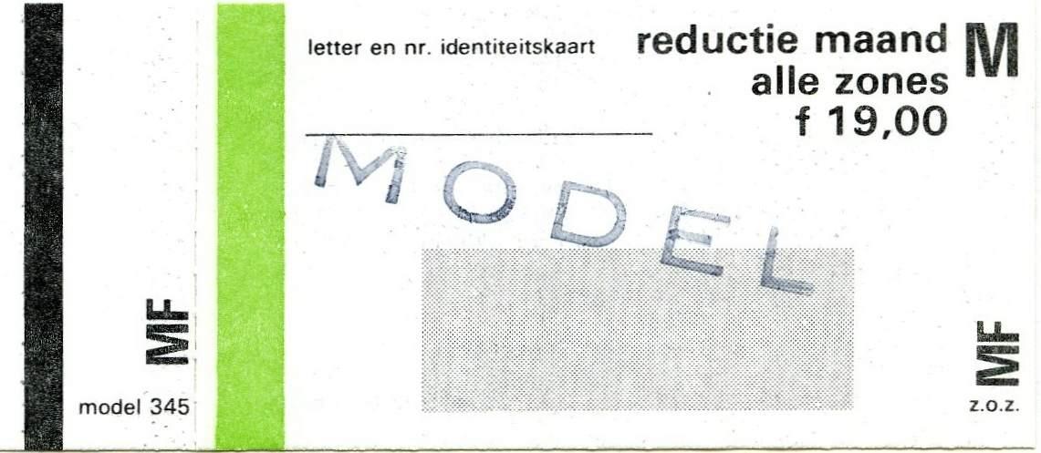 RET 1978 maandkaart alle zones reductie 19,00 (345) -a