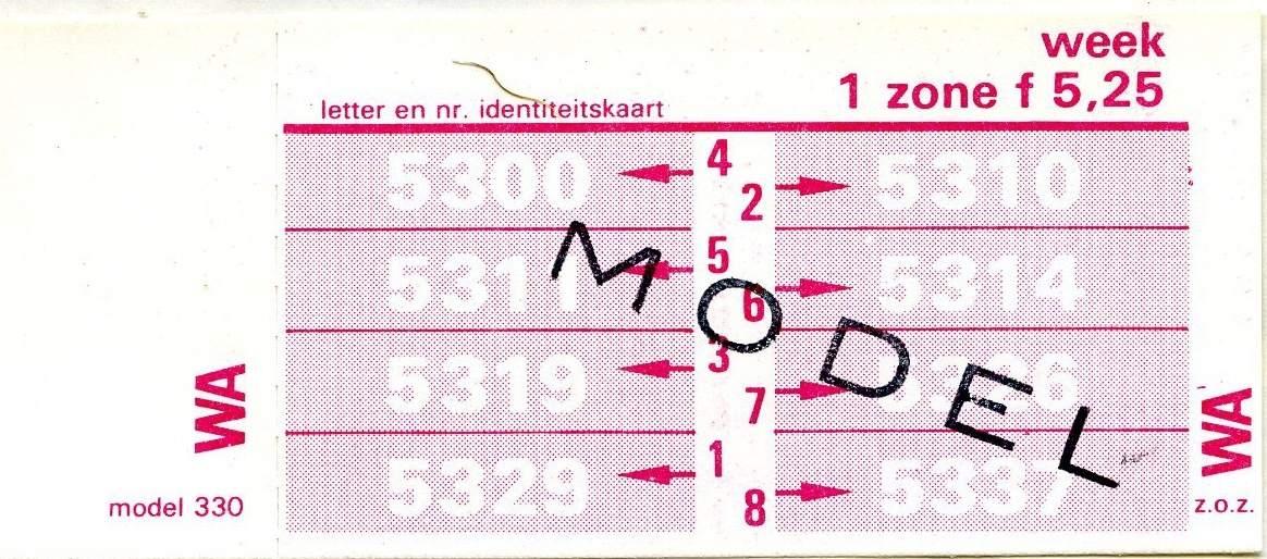 RET 1978 weekkaart 1 zone 5,25 (330) -a