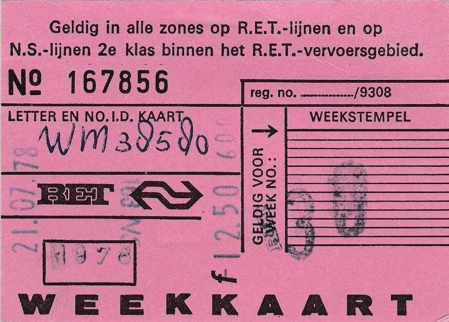 RET 1978 weekkaart 38 alle zones NS-model 12,50 (BIC9645) -a