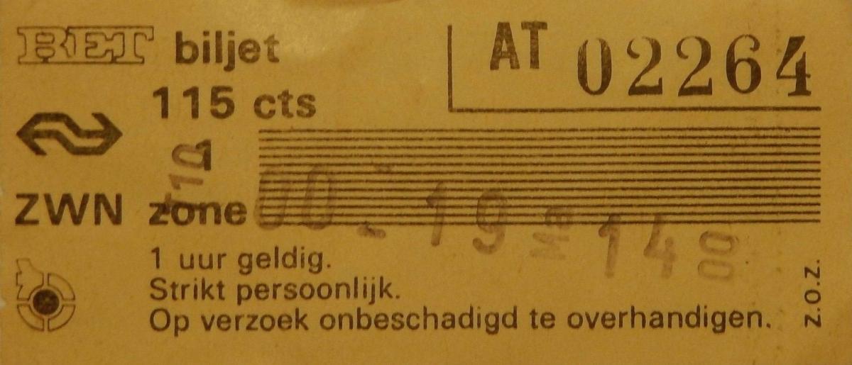 RET 1979 biljet 115 cts 1 zone combi (250) -a