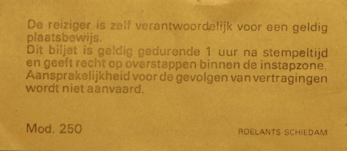 RET 1979 biljet 115 cts 1 zone combi achterzijde (250) -a