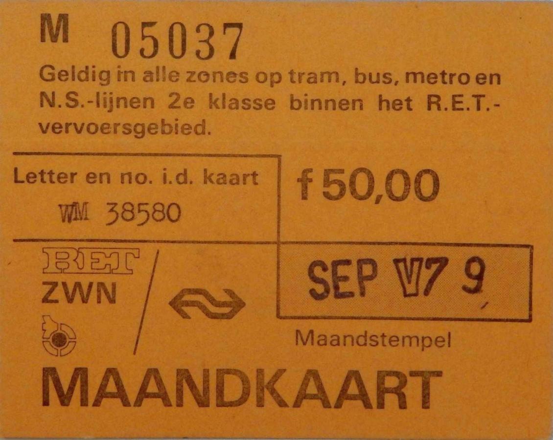 RET 1979 maandkaart 50,- RET-ZWN (227) -a