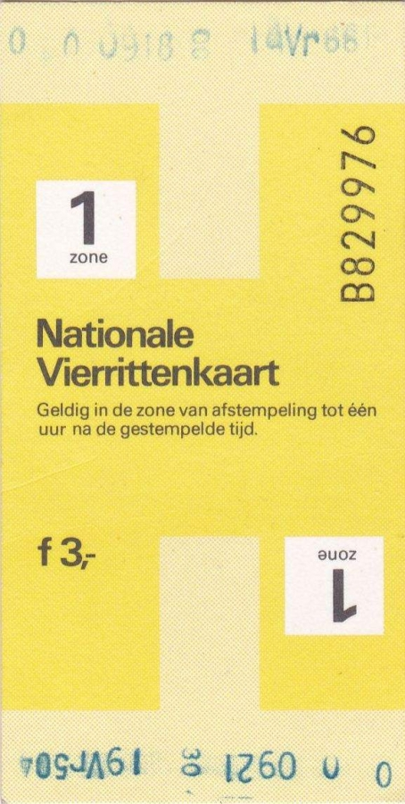RET 1979 nationale vierrittenkaart 1 zone 3,00 (BIG-9122) -a
