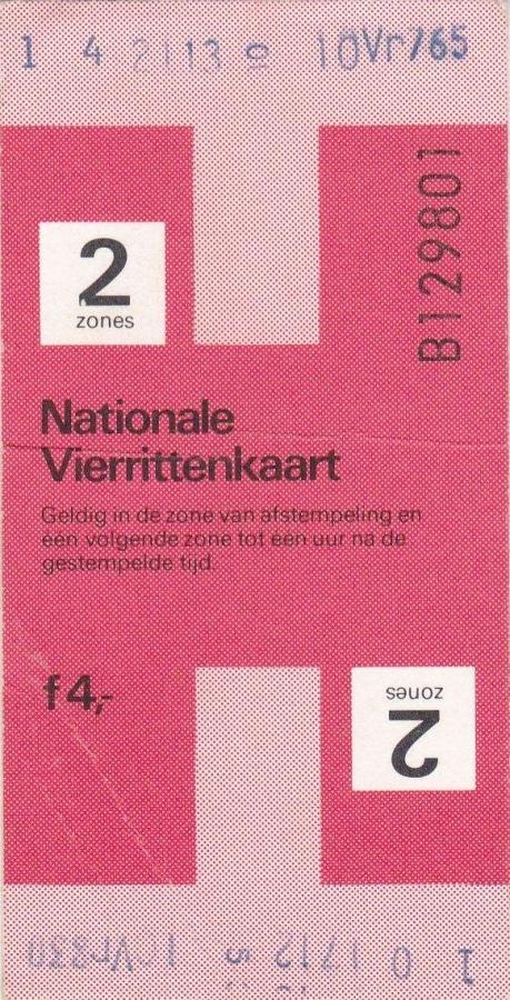 RET 1979 nationale vierrittenkaart 2 zones 4,00 (BIG-9123) -a