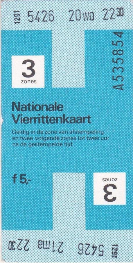 RET 1979 nationale vierrittenkaart 3 zones 5,00  (BIG-9124) -a