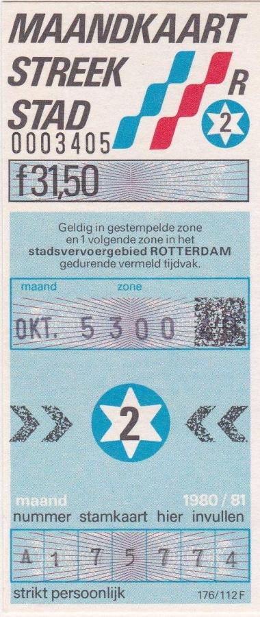 RET 1980 maandkaart streek-stad 2 zones 31,50 (176 112F) -a