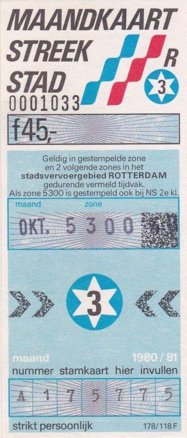 RET 1980 maandkaart streek-stad 3 zones 45,- (178 118F) -a