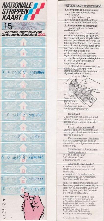 RET 1980 nationale 15-strippenkaart 5,00 -a