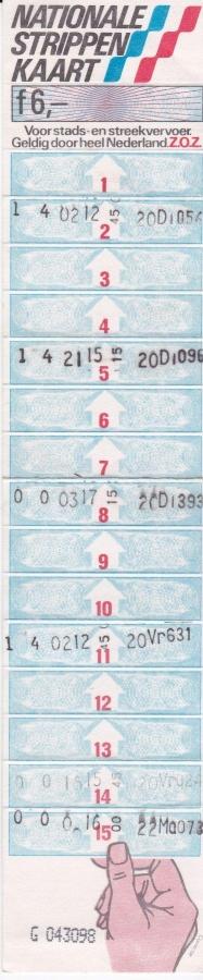 RET 1981 Nationale 15 strippenkaart 6,- -a
