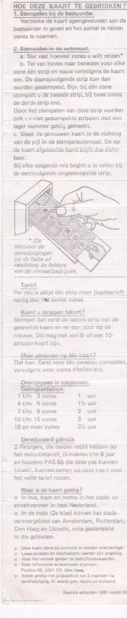 RET 1981 Nationale 15 strippenkaart 6,- achterzijde -a