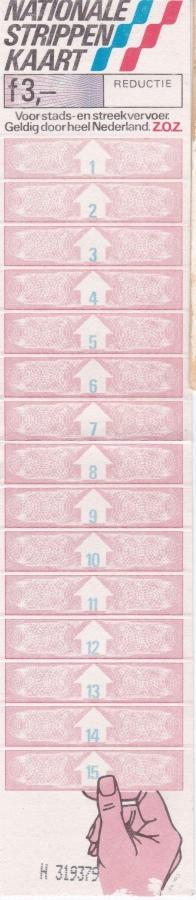 RET 1981 nationale 15 strippenkaart reductie 3,00 (MR) -a