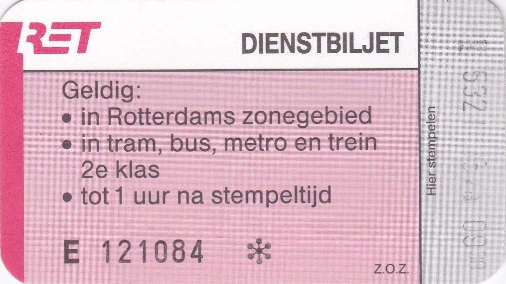 RET 1990 dienstbiljet -a