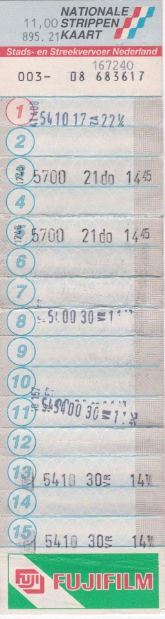 RET 1994 nationale 15 strippenkaart 11,00 -a